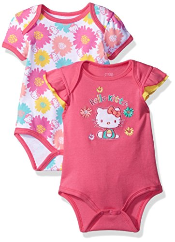 Hello Kitty Baby Girls 2 Pack Bodysuits with Allover Flower Print