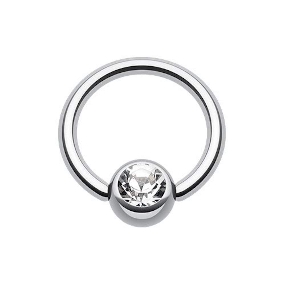 Covet Jewelry Gem Ball Steel Captive Bead Ring Size: 14GA, Length: 12mm, Ball Size: 6mm, Clear