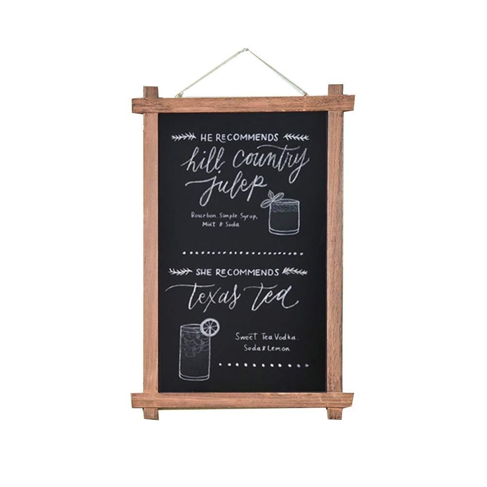 LIANGJUN 黒板ブラックボード看板レトロ 無垢材 壁掛け式 メモボード ショップ メニューボード キッチン 、2色 、2つのサイズ (Color : B, Size : 60x90cm) 60x90cm B B07NY7RLWN