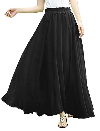 Amazon.com: V28 Women Full/ankle Length Elastic Pleated Retro Maxi ...