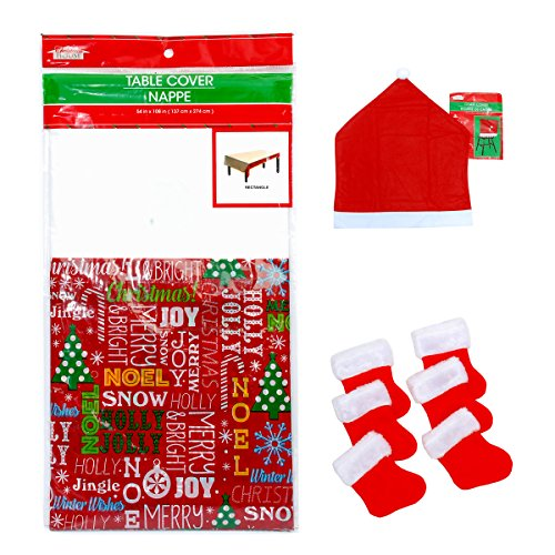6 Christmas House Santa Hat Chair Covers 19.6 x 23.6 in, One Christmas House Table Cover andOne Pkg. 6 The Christmas Shoppe Mini Stockings Flatware Holder (Shoppe Table)