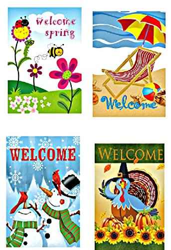 CamSavi Set of 4 Seasonal Garden Welcome Flags,12x18,Double
