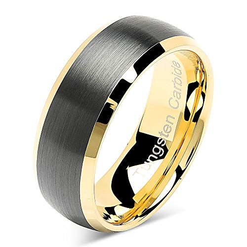 100S JEWELRY Tungsten Rings for Men Women Wedding Band Black Matte Gold Dome Edge Sizes 6-16 (Custom Text Engraving, 10) (Two Tone 6mm Edge)