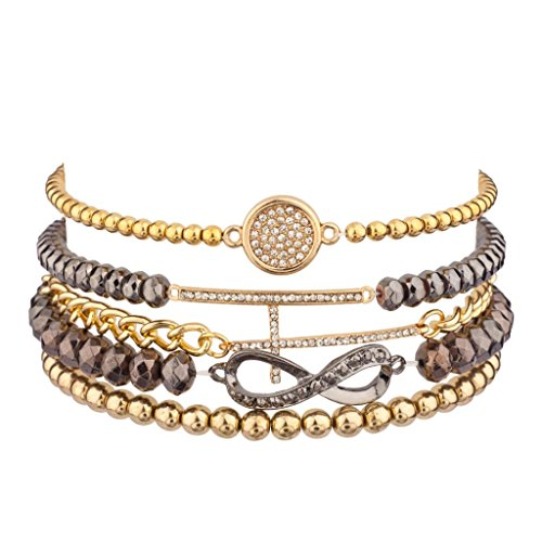 Lux Infinity Pave Circle T Beaded Stretch Arm Candy Chain Link Friendship - St Circle Armens