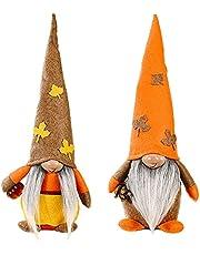 UgyDuky 2Pcs Fall Thanksgiving Gnome Plush Decorations, Maple Leaf and Pumpkin Gnomes Harvests Festival Faceless Plush Dolls for Home Farmhouse Kitchen Decor