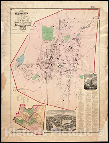 Vintage Map | 1868 Plan of the city of Meriden, New Haven Co, Conn. from actual surveys | Vintage Wall Art | 33in x 44in -