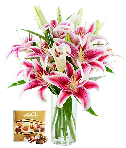 KaBloom Charming Bouquet of 8 Fresh Pink Lilies with Vase and One Box of Lindt Chocolates