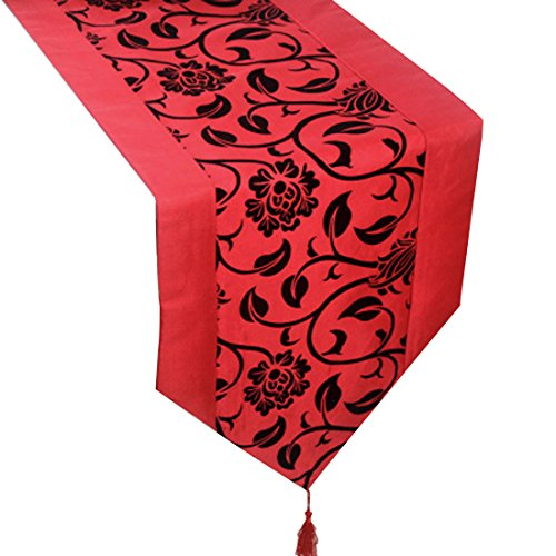 uxcell Flocking Taffeta Damask Runners