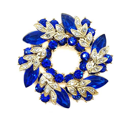Ahugehome Women Brooch Pin Rose Flower Camellia Inlay Crystal Vintage Style Dress Party Wedding (C Flower Gold Royal Blue)