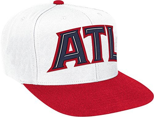 Atlanta Hawks Basic Logo White/Red Adjustable Snapback Hat / Cap