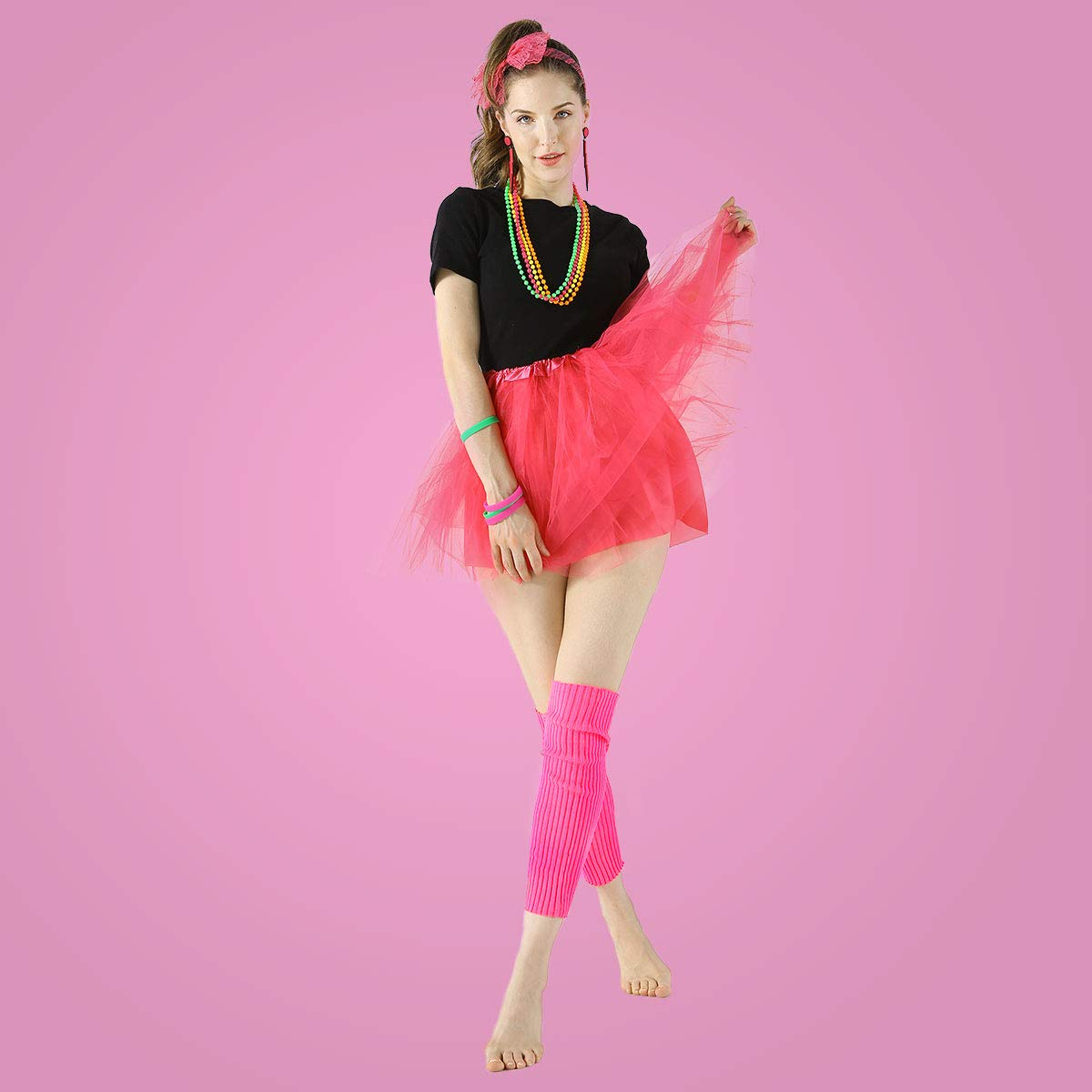 80s Outfit Womens 80s Fancy Outfit Costumes Accessories Set Leg Warmers Fishnet Gloves Neon Earrings Bracelet and Beads