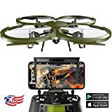 Kolibri Delta-Recon HD Camera Drone with FPV App Video Stream,2 Batteries for Longer Flight Time, Altitude Hold, Headless Mode, Auto Take-Off & Landing. Quadcopter for Beginners Model:U818A-WIFI
