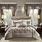Cal King Size Bed Dimensions Madison Park Essentials Joella Cal King Size Bed Comforter Set Room in A Bag - Taupe, Tufted Wrinkled – 24 Pieces Bedding Sets – Faux Silk Bedroom Comforters