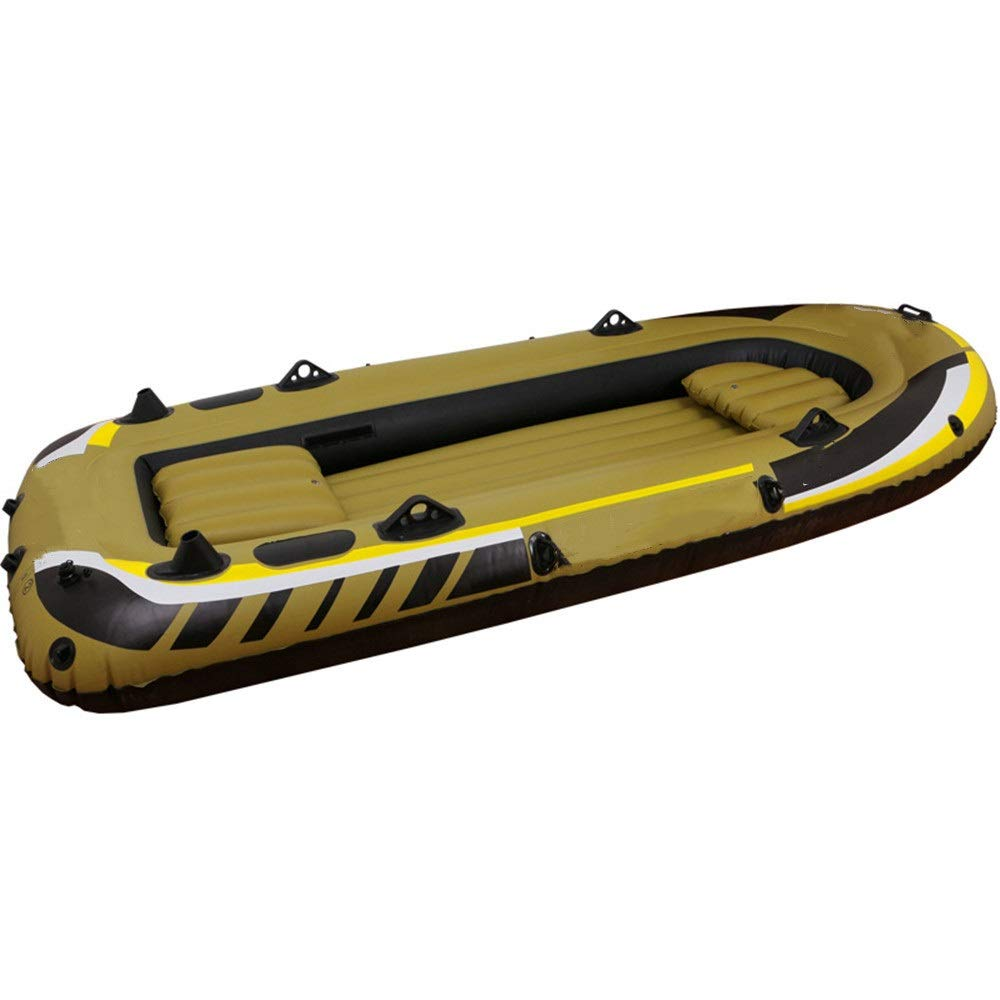 Durability Inflatable Kayaks Durable Inflatable Boat 3 People Fishing 350 Rubber Boat with Plastic Paddle Hand Pump Repair Kit Assault Boat (Color : Picture Color, Size : 305x136x42cm) by BoeWan