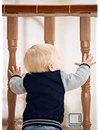 Roving Cove Safe Rail – 10ft L x 3ft H – INDOOR Balcony and Stairway Safety Net – ALMOND color – Banister Stair Net – Child Safety; Pet Safety; Toy Safety; Stairs Protector BOBEBE Online Baby Store From New York to Miami and Los Angeles