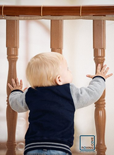 Roving Cove Safe Rail - 10ft L x 3ft H - INDOOR Balcony and Stairway Safety Net - ALMOND color - Banister Stair Net - Child Safety; Pet Safety; Toy - Rail Stair