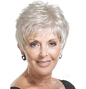 Amazon.com   SmartFactory Silver White Short Human Hair Wig Europe Style  for Grandma   Beauty 71b0e4cec8c5