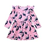 Wanshop  Girls Dresses, Kids Baby Cute Cartoon Dinosaur Print Long Sleeve Party Dress Clothes ToddlerOutfits (3-4 Years Old, Yellow)