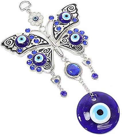 "H Turkish Blue Evil Eye light blue Flower Money Fortune Tree /& Elephant 9.5"""