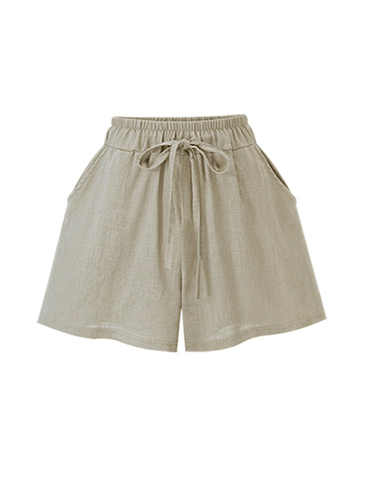 Women's Elastic Waist Cotton Linen A Line Wide Leg Summer Hot Shorts with Drawstring Apricot Tag L-US 4