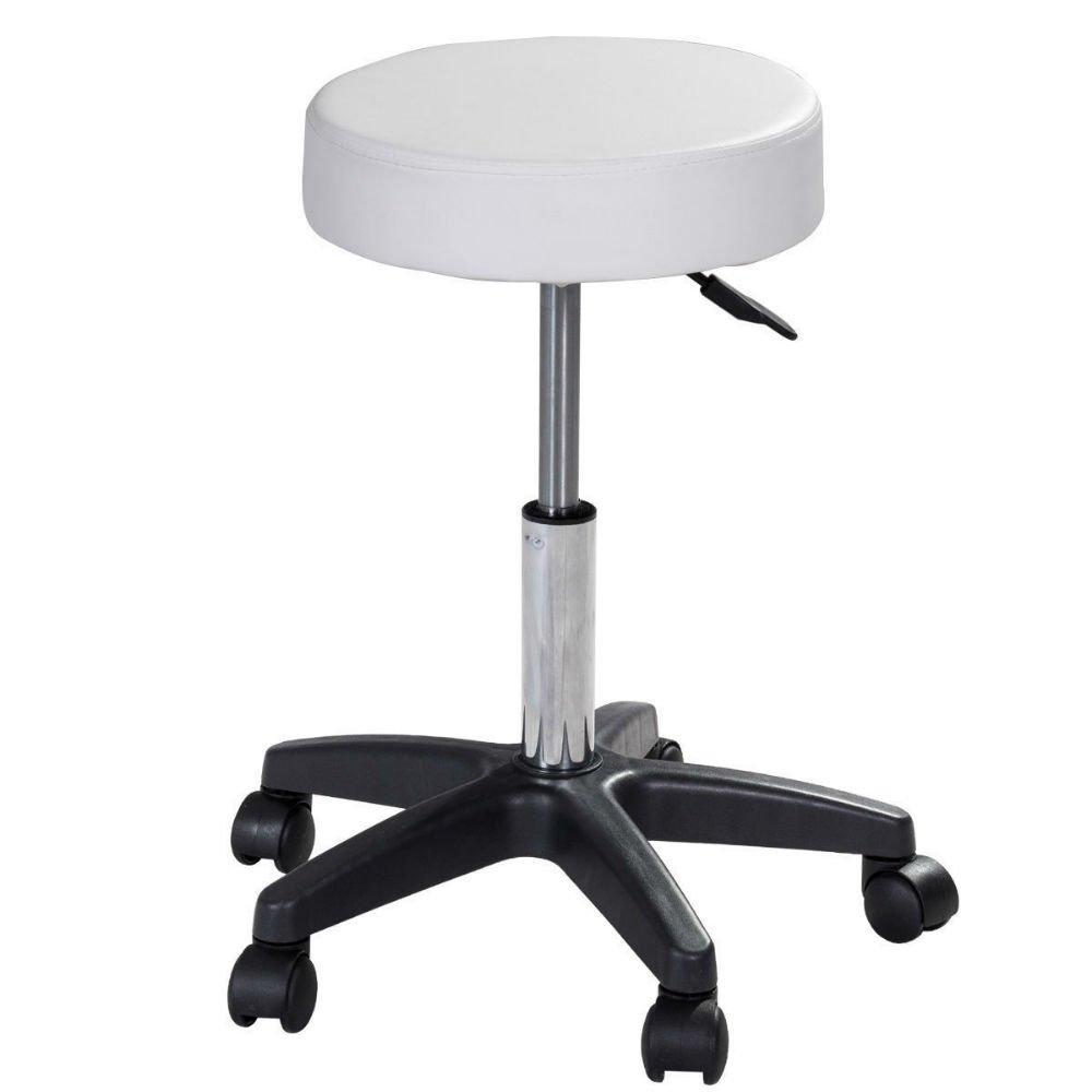 1 PC Adjustable Hydraulic Rolling Swivel Bar Stool Massage Spa Beauty Seat White