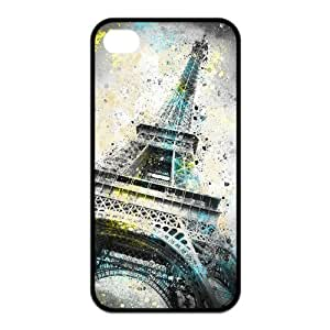 Eiffel Tower Pattern Design Solid Rubber Customized Cover Case for iPhone 4 4s 4s-linda260