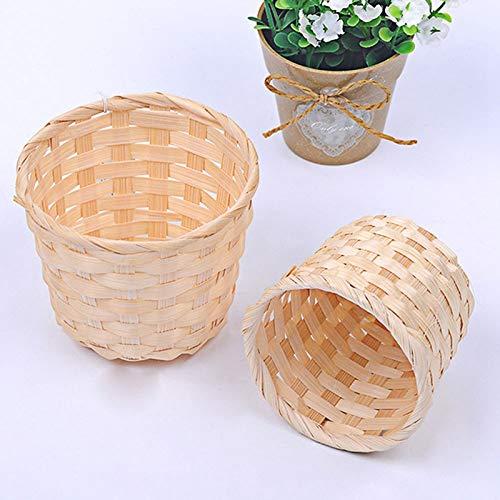 Handmade Sundries Organizer Rattan Plant Box Wicker Basket Nursery Pots Sea Grass Storage Basket Straw Garden Flower Pot S (Plant Housing)