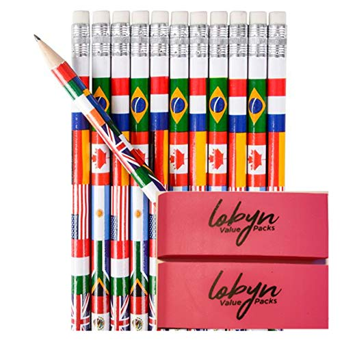 7.5 inches Assorted Colorful Pencils Pack Of 72 Perfect For Teachers Children And Classrooms w/ 2 Pink Eraser By Lobyn Value Packs (International)