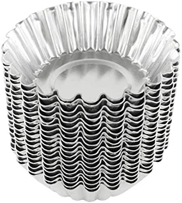 20pcs Stainless Steel Egg Tart Molds Reusable Baking Tools Cupcake Muffin Cups