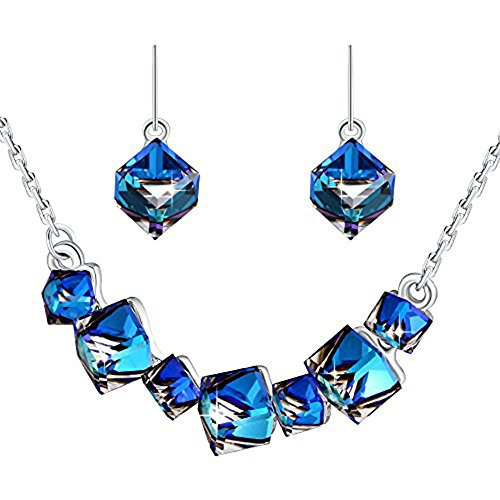PLATO H Ocean Blue Crystal Jewelry Set Pendant Necklace Earrings Set Gifts Sets For (Super Fine Sapphire Necklace)