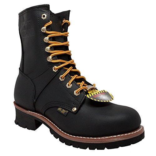 AdTec Men's 9 Inch Steel Toe Logger Boot, Black
