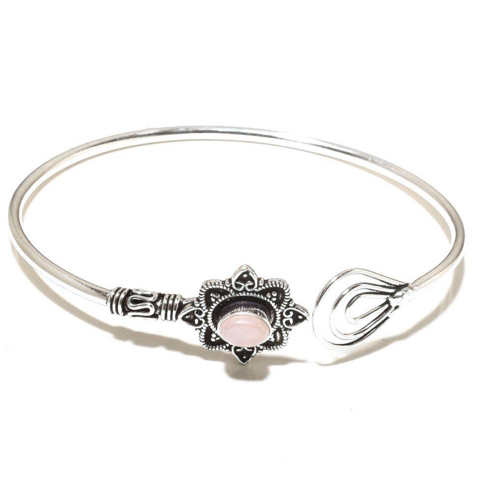 Fantasy Pink Rose Quartz Sterling Silver Overlay 15 Grams Bangle//Bracelet Free Size