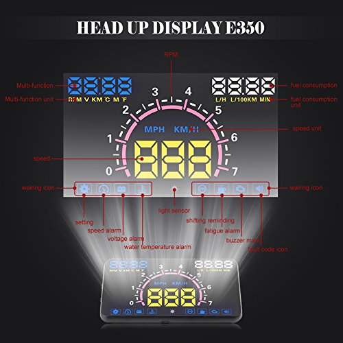 VGEBY Universal 5.8'' Car HUD Head Up Display With OBD2 EUOBD Interface Speeding Warning by VGEBY (Image #5)