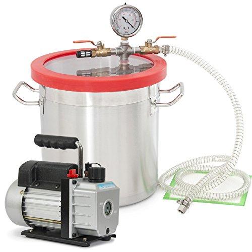 ARKSEN Vacuum Chamber (2 Gallon) Silicone Expoxy Degassing and 4CFM Vacuum 1/3HP Pump