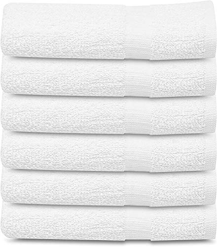 Towels N More 6 Pack White 22×44 Bath Towel 100% Cotton for Maximum Absorbent Easy Care-Home, Gym, Hotels/Motels, use (6, 22×44)