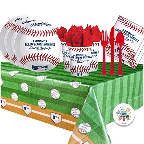 MLB Baseball Rawlings Party Supplies Party Pack for 16 Guests (Plates, Cups, Full Cutlery Set, Napkins, Table Cover)