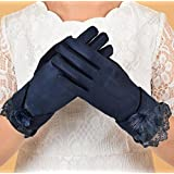 Leng QL Fashion Faux Fur Ladies Small Pompom Winter Outdoor Keep Warm Soft Touch Screen Gloves (Navy)