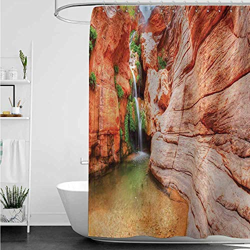 (home1love Waterproof Bathtub Curtain,Americana Elves Chasm Colorado River Plateau Creek Grand Canyon Image Print,Single stall Shower Curtain,W48x84L,Scarlet Green Pale Brown)
