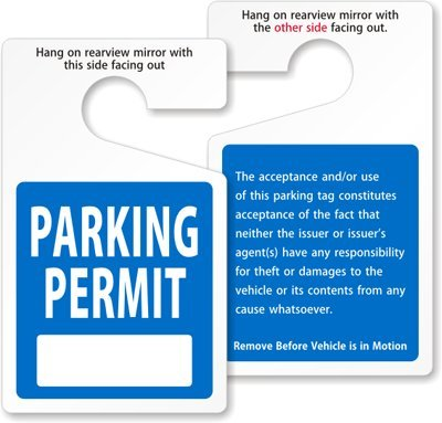 rking Permit Rearview Mirror Hang Tag By SmartSign   3