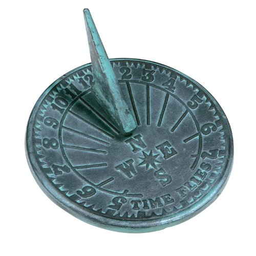 Rome 2520 Numbers Sundial, Cast Iron with Verdigris Finish, 10-Inch Diameter