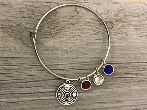 - U S Coast Guard Academy Gifts, Handmade Coast Guard Charm Bangle Bracelet, Perfect Gifts for Women