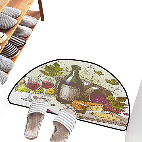 Axbkl Bedroom Doormat Wine Vintage Style Composition with Wine and Cheese Fruits Gourmet Taste Beverage and Food with Anti-Slip Support W30 xL18 Multicolor from Axbkl