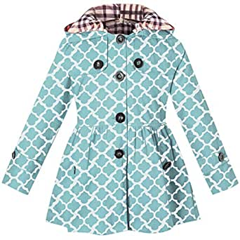 Little Girls & Toddlers Hooded Trench Dress Coat, Hoodie Jacket Outwear, Geometry Print Blue, Age 2T-3T (2-3 Years) = Tag 100