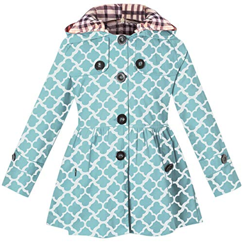 Girl's Long Sleeves Chino Cotton Winter Quilted Hooded Trench Coat Outerwear, B-Blue, 9-10 Years=Tag 150 ()