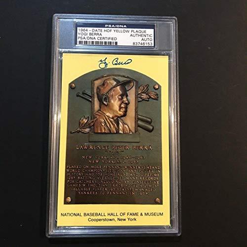Yogi Berra Signed Gold HOF Plaque Postcard New York Yankees Auto - PSA/DNA Certified - MLB Cut Signatures from Sports Memorabilia
