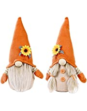 UgyDuky 2 Pack Harvests Festival Sunflower Gnome Doll Ornaments, Handmade Swedish Tomte Dwarf Plush Gnome Flowers Elf Thanksgiving Home Farmhouse Kitchen Decorations