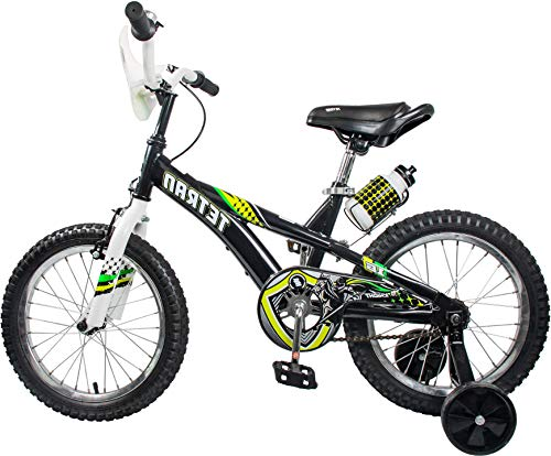 HAPTOO Toddler Bike for Boys with Training Wheels for 4-6 Years Old, Kid Bicycle, Black/Green