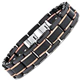 """Men's Black and RoseTone Pink Stainless Steel Bracelet with Pure Solid Carbon Fiber links 8.25"""" Can be sized down"""