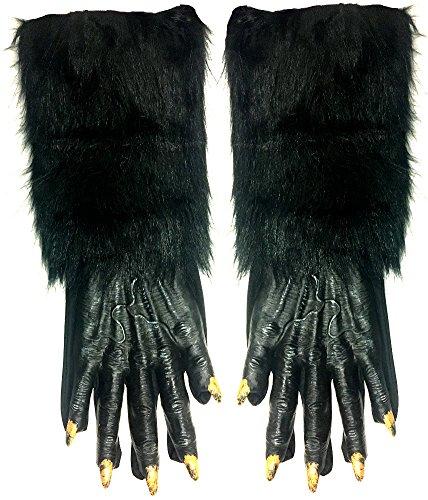 Fun World Werewolf Hands Adult Gloves, Black, Standard -