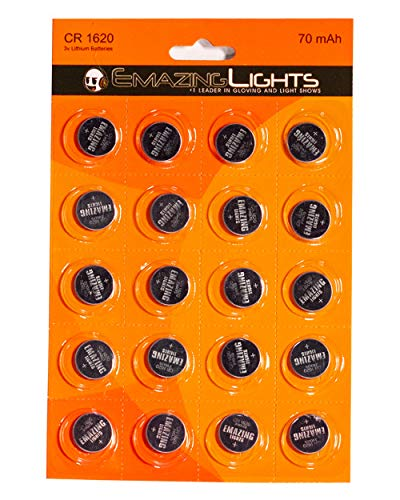 EmazingLights CR1620 3 Volt Button Cell Lithium Batteries (Pack of 20)